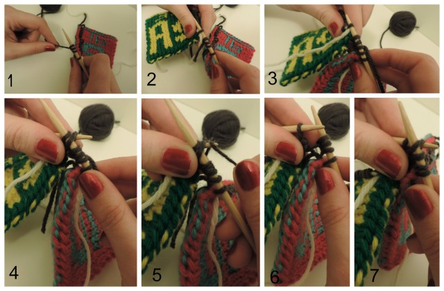 1) One stitch from the holder, plus 3 cast on. 2) First stitch picked up from left square. 3) 4) 5) 6) 7)